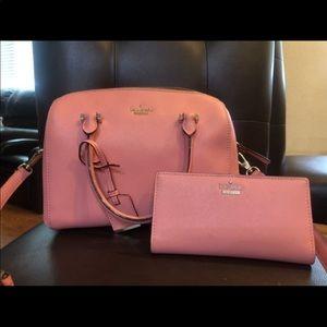 Pink Kate Spade bag and wallet